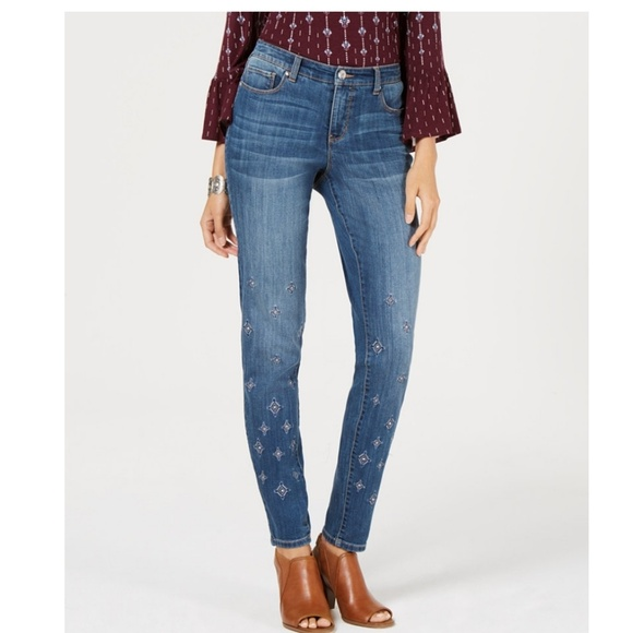 Style & Co Denim - STYLE & CO Embroidered Skinny Jeans